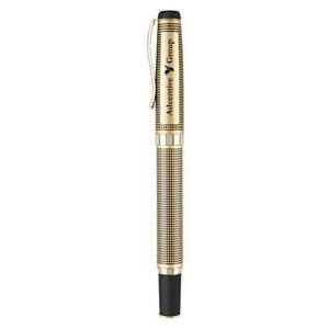 Gold Heavyweight Brass Construction Roller Ball Pen
