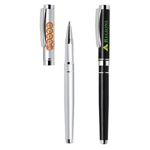 Troy Aluminum Rollerball Pen w/Removable Cap & Chrome Accents