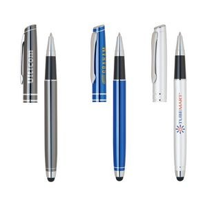 Stylus & Aluminum Rollerball Pen w/Removable Cap