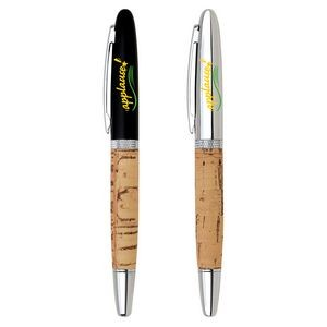 Cork Barrel Rollerball Pen w/Removable Cap