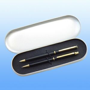 Brass Pen & Pencil Set In A Metal Box