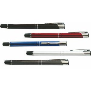 Metal Fancy Line Pen w/ Silver Accent Roller Ball - Screened