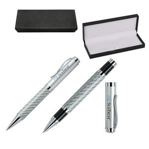 Carbon Fiber Roller & Ball Point Brass Pens in Leatherette Box