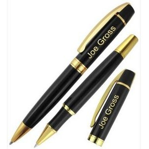 Crown Collection Metal Ballpoint & Rollerball Pen (Black/Gold)