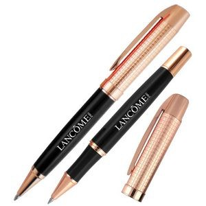 Crown Collection Metal Ballpoint & Rollerball Pen Set (Black/Rose Gold Gold)