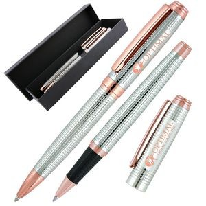 Crown Collection Metal Ballpoint & Rollerball Pen Set (Chrome/Rose Gold)