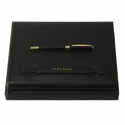 HUGO BOSS Essential Lady Black Set w/Rollerball Pen & A5 Conference Folder